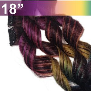 Rainbow Real Human Hair Extensions Clip in Black Root Subtle Rainbow Hairstyle